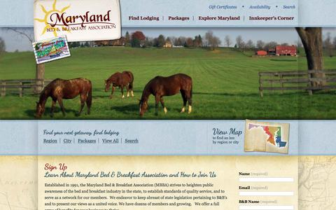 Screenshot of Signup Page marylandbb.com - Maryland Bed & Breakfast Association: About Us & How to Join - captured Jan. 3, 2017