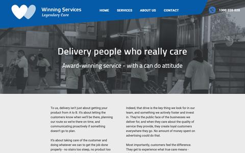 Screenshot of Services Page winningservices.com.au - Delivery - Winning Services - captured Oct. 22, 2018