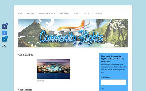 Screenshot of Case Studies Page communityflights.com - Community Flights Air Service Performance History - captured July 15, 2016