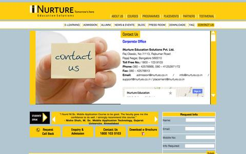 Screenshot of Contact Page inurture.co.in - Contact Us - iNurture | iNurture - captured Sept. 24, 2014
