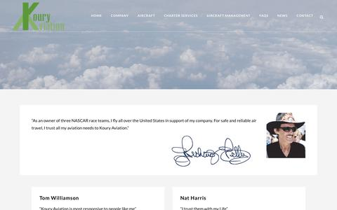 Screenshot of Testimonials Page kouryprivatejetcharter.com - Testimonials from our satisfird clients, see what they're saying - captured Oct. 16, 2018