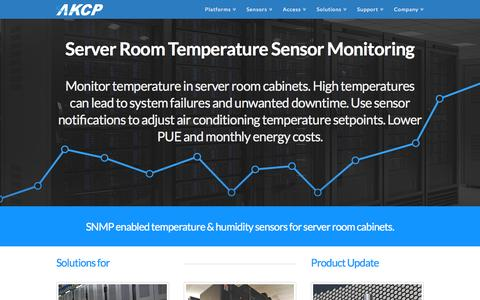 Screenshot of Home Page akcp.com - Temperature Sensor Monitoring | SNMP & Email | AKCP | Temperature Sensor Monitoring for Server Rooms. Monitor rack temperature & humidity, prevent equipment downtime, monitoring and control CRAC power consumption. - captured Feb. 4, 2016