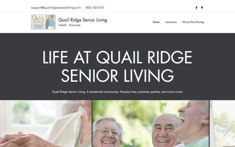 Screenshot of Home Page quailridgeassistedliving.com - Quail Ridge Senior Living Oklahoma City premier Retirement destination - captured July 18, 2018