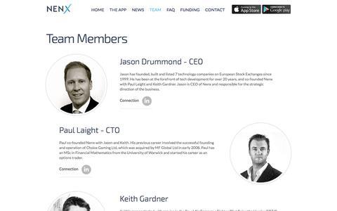 Screenshot of Team Page nenx.com captured Nov. 4, 2014