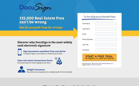 Screenshot of Landing Page docusign.com - Free Electronic Signature Trial | DocuSign - captured Oct. 27, 2014