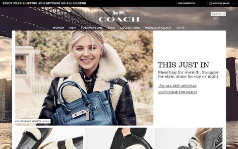 Screenshot of Home Page coach.com - COACH Official Site | New York Luxury Brand Est 1941 - captured Nov. 3, 2015