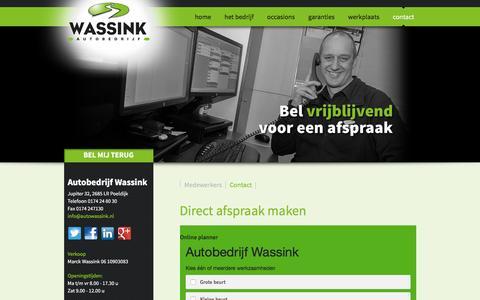 Screenshot of Contact Page autowassink.nl - Direct afspraak maken - captured Feb. 6, 2016