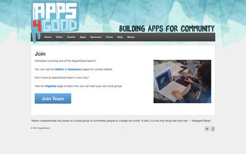 Screenshot of Signup Page apps4good.ca - Join | Apps4Good - captured Oct. 4, 2014