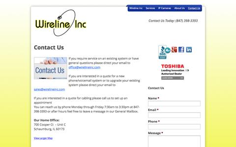 Screenshot of Contact Page wirelineinc.com - Contact Us - wirelineinc - captured Oct. 26, 2014