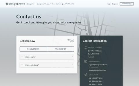 Screenshot of Contact Page designcrowd.com - Contact DesignCrowd for Support and Feedback   DesignCrowd - captured Oct. 30, 2017