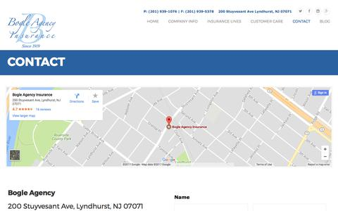 Screenshot of Contact Page bogleagency.com - Contact Bogle Agency Insurance | Bergen County NJ Insurance Agency - captured Oct. 10, 2017