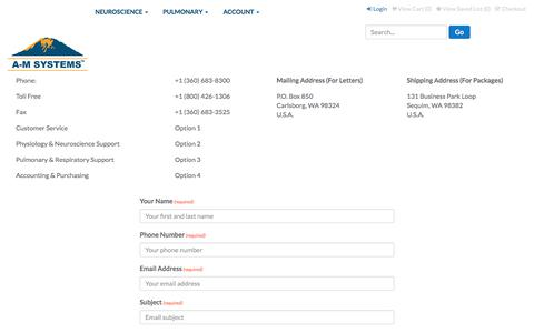 Screenshot of Contact Page a-msystems.com - A-M Systems - Contact Us - captured Sept. 23, 2017
