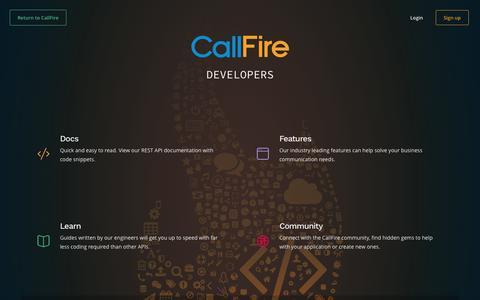 Screenshot of Developers Page callfire.com - Welcome | CallFire Developers - captured Jan. 30, 2017