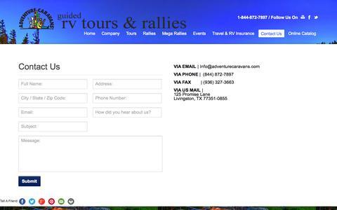 Screenshot of Contact Page adventurecaravans.com - Contact Us | Adventure Caravans - captured Sept. 30, 2014