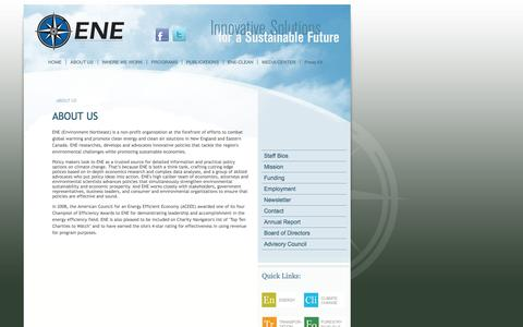 Screenshot of About Page env-ne.org - Environment Northeast - captured Oct. 1, 2014