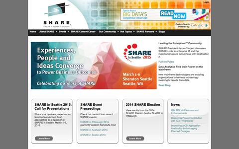 Screenshot of Home Page share.org - SHARE : SHARE - Enterprise Technology IT Professionals Association - Home - captured Oct. 3, 2014