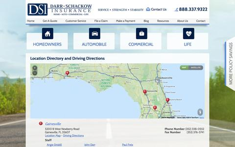 Screenshot of Locations Page darrschackowinsurance.com - Darr Schackow Insurance Agency, LLC Locations and Driving Directions - captured Sept. 30, 2014