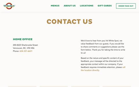 Screenshot of Contact Page whitespot.ca - Contact Us - White Spot - captured Oct. 14, 2019