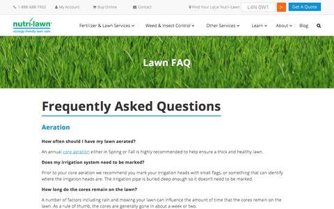 Screenshot of FAQ Page nutrilawn.com - Lawn FAQ's   Nutri-Lawn - captured June 15, 2017