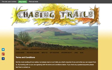 Screenshot of Terms Page chasingtrails.com - Chasing Trails terms & conditions - captured Sept. 29, 2014
