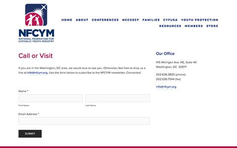 Screenshot of Contact Page nfcym.org - Contact — NFCYM - captured Oct. 19, 2017