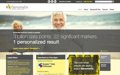 Screenshot of Home Page genomedx.com - GenomeDx: Informing Decisions for Prostate Cancer Treatment - captured Oct. 2, 2014