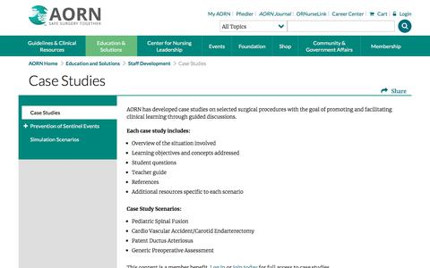 Screenshot of Case Studies Page aorn.org - Case Studies - Association of periOperative Registered Nurses - captured July 28, 2018