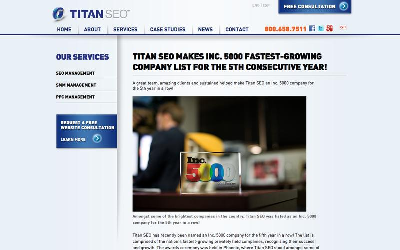 Titan SEO Makes the Inc. 5000 for the 5th Year in a Row