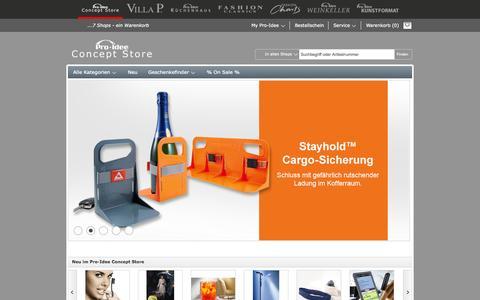 Screenshot of Home Page proidee.de - Pro-Idee Concept Store - neue Ideen aus aller Welt - captured Jan. 23, 2015