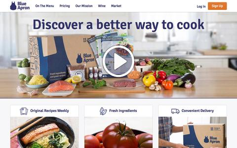 Screenshot of Home Page blueapron.com - Blue Apron: Fresh Ingredients, Original Recipes, Delivered to You - captured Jan. 1, 2016