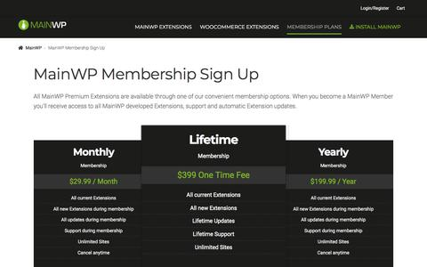 Screenshot of Signup Page mainwp.com - MainWP Membership Sign Up - MainWP WordPress Management - captured July 27, 2018
