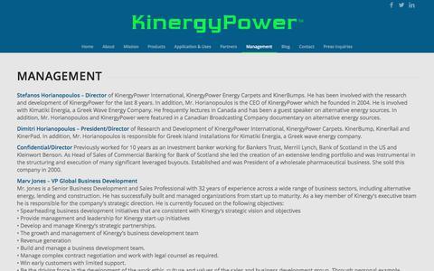 Screenshot of Team Page kinergypower.com - KinergyPower | Management | kinergypower - captured Jan. 9, 2016
