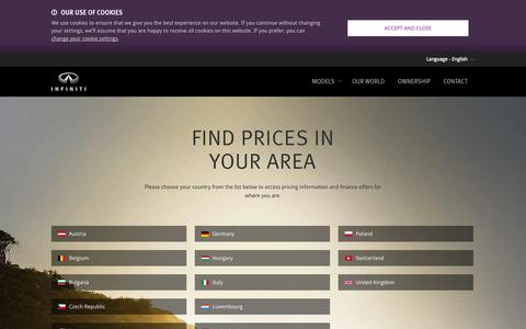 Screenshot of Pricing Page infiniti.eu - Market selector - Infiniti luxury cars - captured Sept. 19, 2014