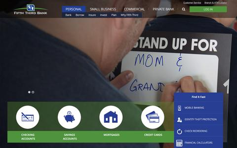 Screenshot of Home Page 53.com - Personal Banking Services | Fifth Third Bank - captured Dec. 15, 2015
