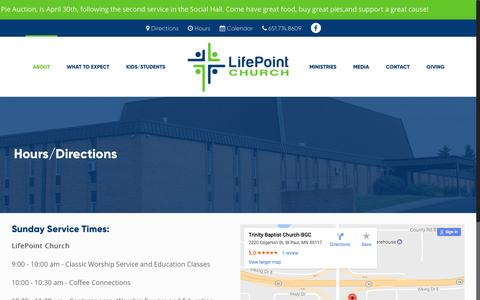 Screenshot of Hours Page lifepointmn.org - Hours/Directions – LifePoint Church - captured April 25, 2017
