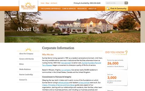Screenshot of About Page sunriseseniorliving.com - About Sunrise Senior Living | Sunrise Senior Living - captured Oct. 28, 2016