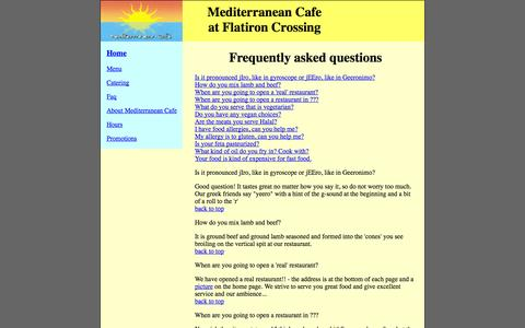 Screenshot of FAQ Page mediterraneancafe-flatiron.com - mediterraneancafe-flatiron - captured Oct. 27, 2014