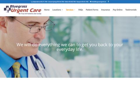 Screenshot of Services Page bluegrassurgentcare.com - Services - Bluegrass Urgent Care - captured July 29, 2016