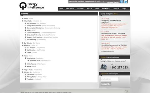 Screenshot of Site Map Page energyintel.com.au - Energy Intelligence Sitemap - captured Oct. 2, 2014