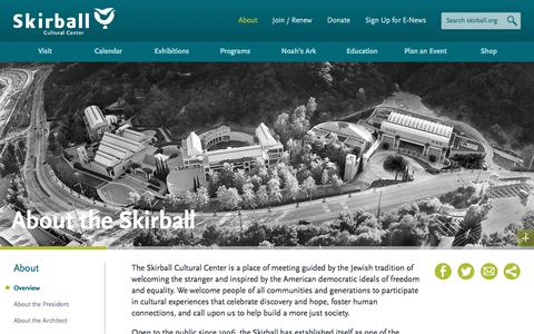 Screenshot of About Page skirball.org - About the Skirball | Skirball Cultural Center - captured Oct. 30, 2017