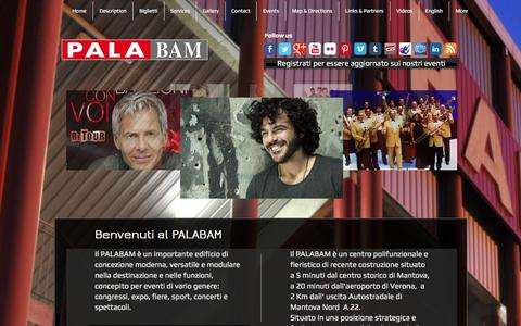 Screenshot of Home Page palabam.it - Palabam Mantova Centro Congressi, Mantua Convention Center Italy - captured Oct. 1, 2014