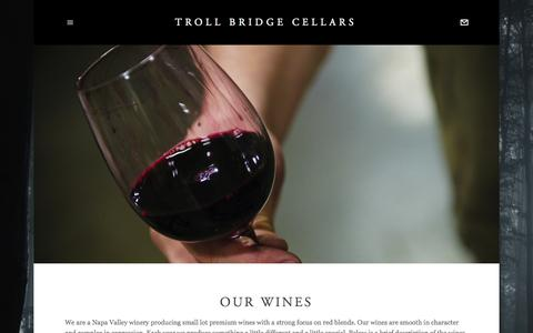 Screenshot of Menu Page trollbridgecellars.com - OUR WINES — Troll Bridge Cellars - captured Aug. 17, 2015