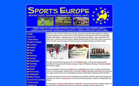 Screenshot of Home Page sports-europe.co.uk - Sports Tours Europe - Football, Netball, Basketball, Hockey, Rugby, Cricket, Swimming, Bowls Tours and Tournaments to Europe, Spain, Holland, South Africa and Barbados. - captured Sept. 30, 2014