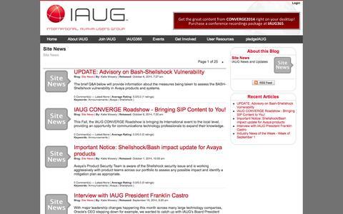 Screenshot of Press Page iaug.org - International Avaya Users Group : Blogs : Site News - captured Nov. 2, 2014