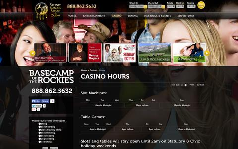 Screenshot of Hours Page stoneynakodaresort.com - Casino Hours | Stoney Nakoda Resort and Casino | Stoney Nakoda Resort and Casino in Kananaskis Country, Alberta - captured Oct. 7, 2014