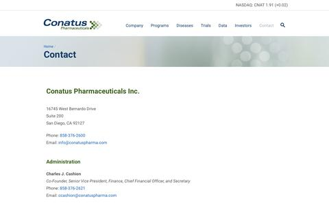 Screenshot of Contact Page conatuspharma.com - Conatus Pharmaceuticals                  » Contact - captured Feb. 21, 2016