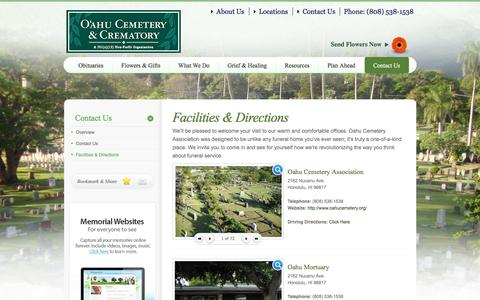 Screenshot of Locations Page oahucemetery.org - Facilities & Directions | Oahu Cemetery Association -  Honolulu, HI - captured April 9, 2017