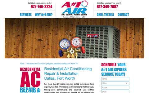 Screenshot of Services Page anumber1air.com - Residential Air Conditioning Repair & Installation Dallas, Fort Worth TX   A#1 Air - captured Oct. 3, 2014