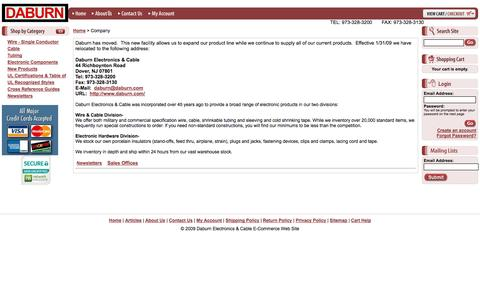 Screenshot of About Page daburn.com - Daburn Electronics & Cable E-Commerce Web Site - Company - captured Oct. 5, 2014