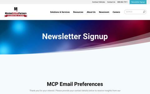 Screenshot of Signup Page missioncriticalpartners.com - Newsletter Signup | Mission Critical Partners - captured June 17, 2019